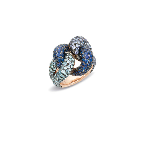 Pomellato Tango Ring aus Roségold mit Aquamarin, Tansanit und blauem Saphir