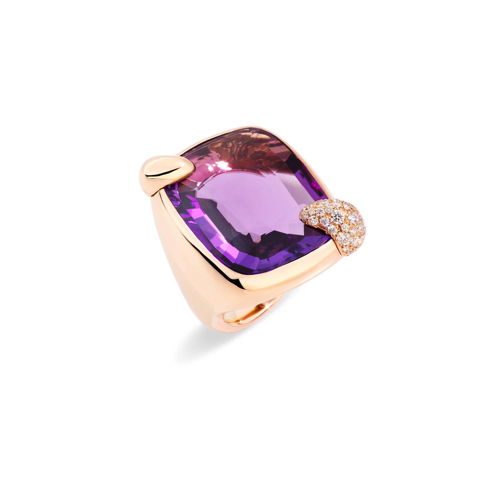 Pomellato Ritratto Ring aus Roségold mit Amethyst und Diamanten