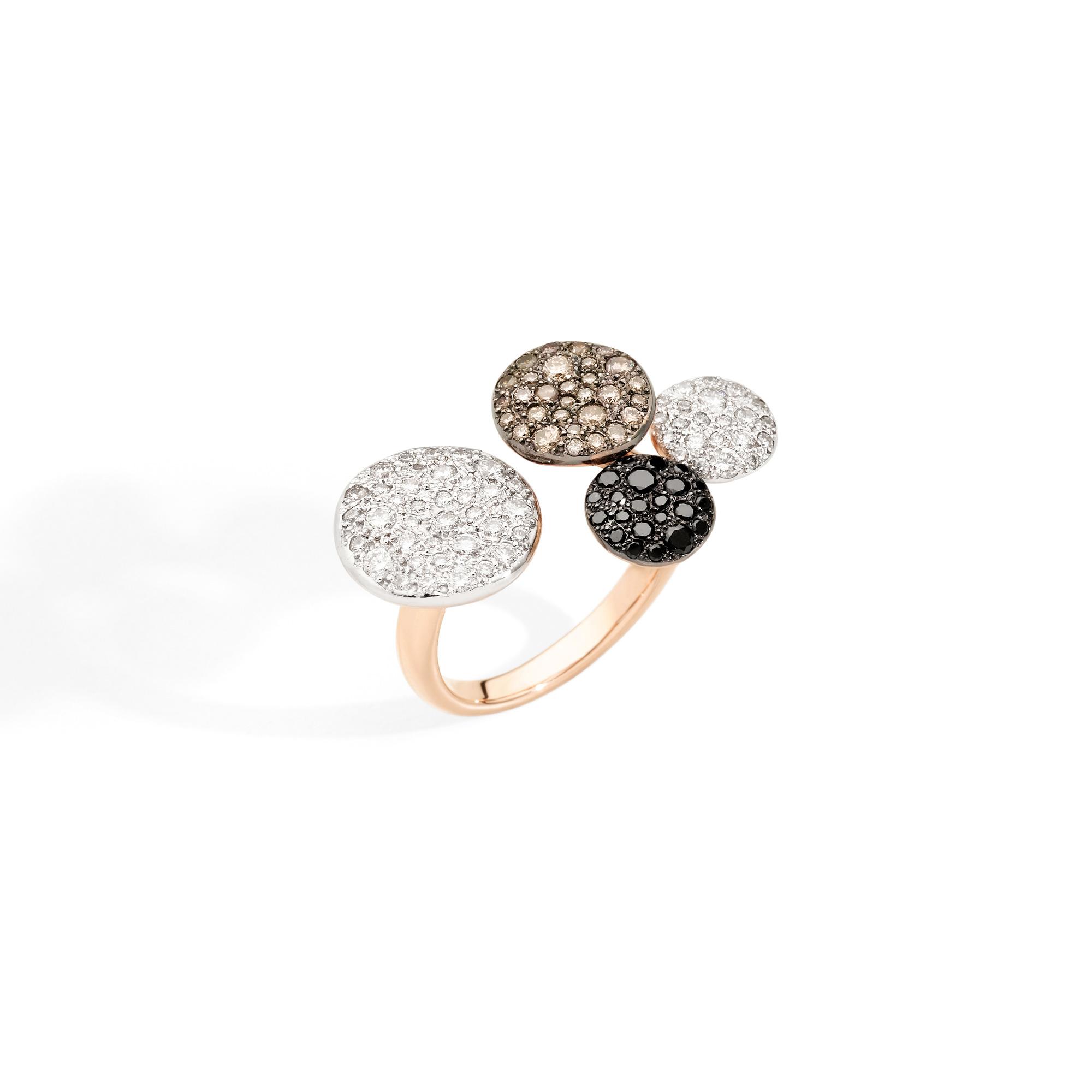 Pomellato Sabbia Ring aus Roségold mit weißen, braunen und schwarzen Diamanten