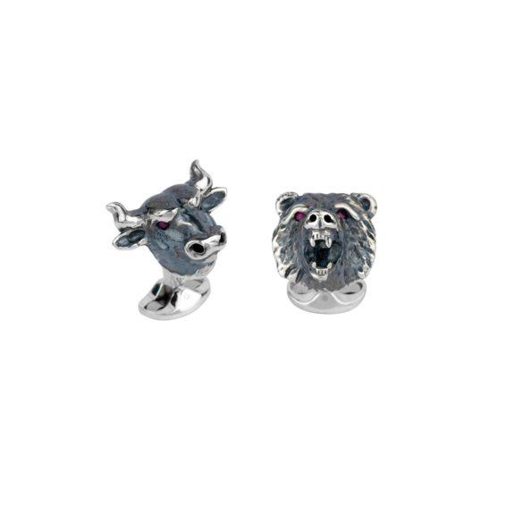 Manschettenknöpfe Bulls and Bears aus Silber mit Emaille und Rubin