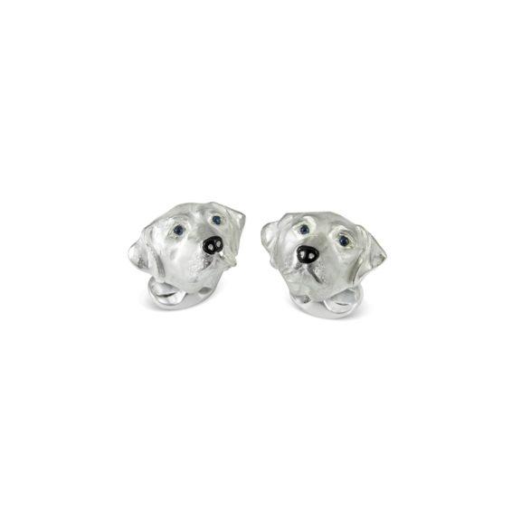 Manschettenknöpfe Hunde aus Silber mit Emaille