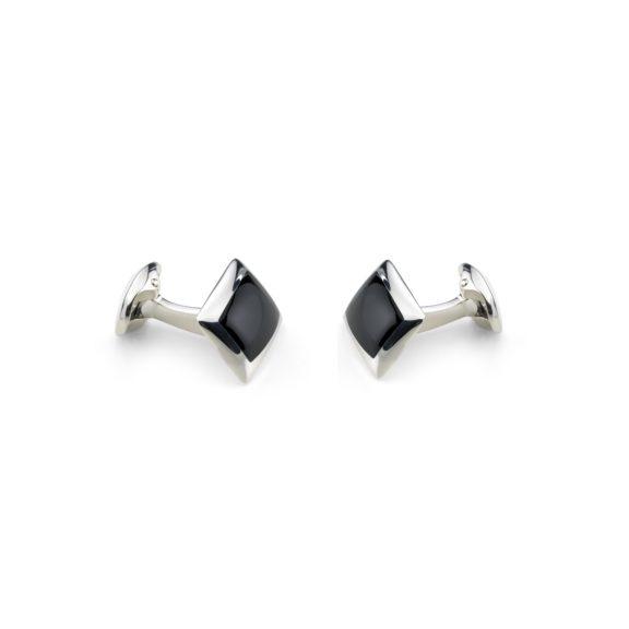 Manschettenknöpfe Quadrat aus Silber mit Onyx