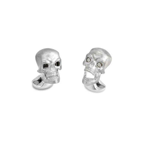 Manschettenknöpfe Totenkopf aus Silber mit Diamanten