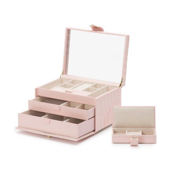 Schmuckaufbewahrungsbox aus Leder in rosa