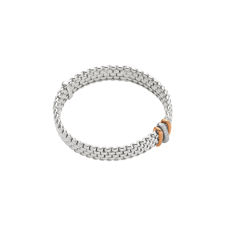 Flexibles Armband von Fope aus 18 Karat Weiß- und Roségold mit Brillanten