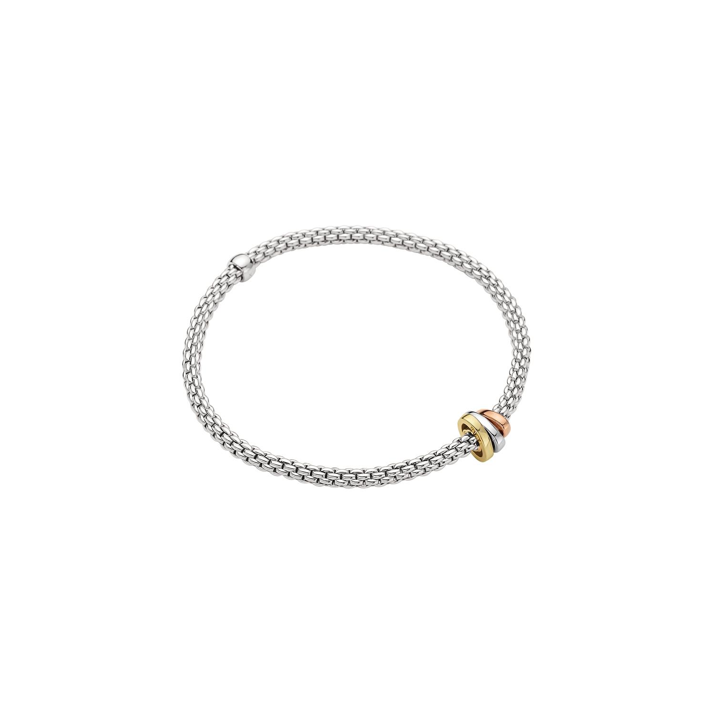 Flexibles Armband von Fope aus 18 Karat Weiß-, Gelb- und Roségold mit Brillanten
