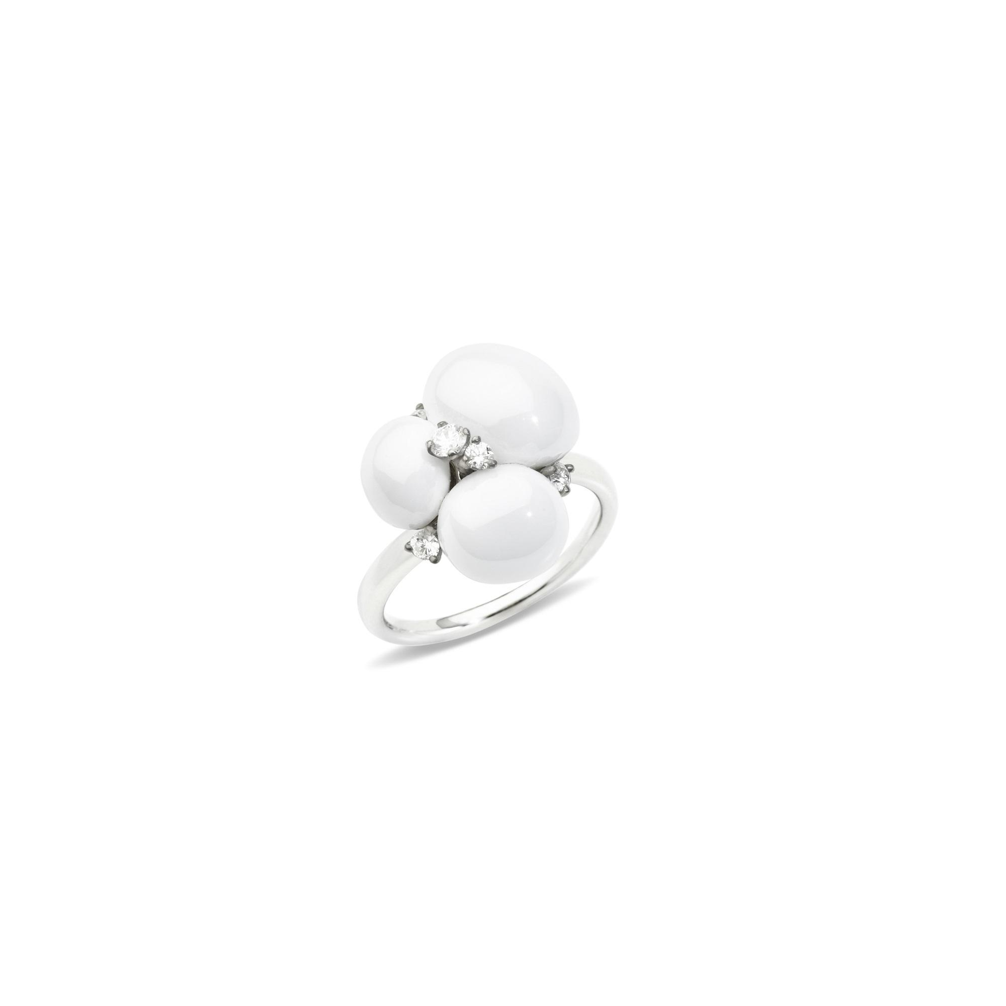 Pomellato Capri Ring aus Weißgold mit Diamanten und Keramik