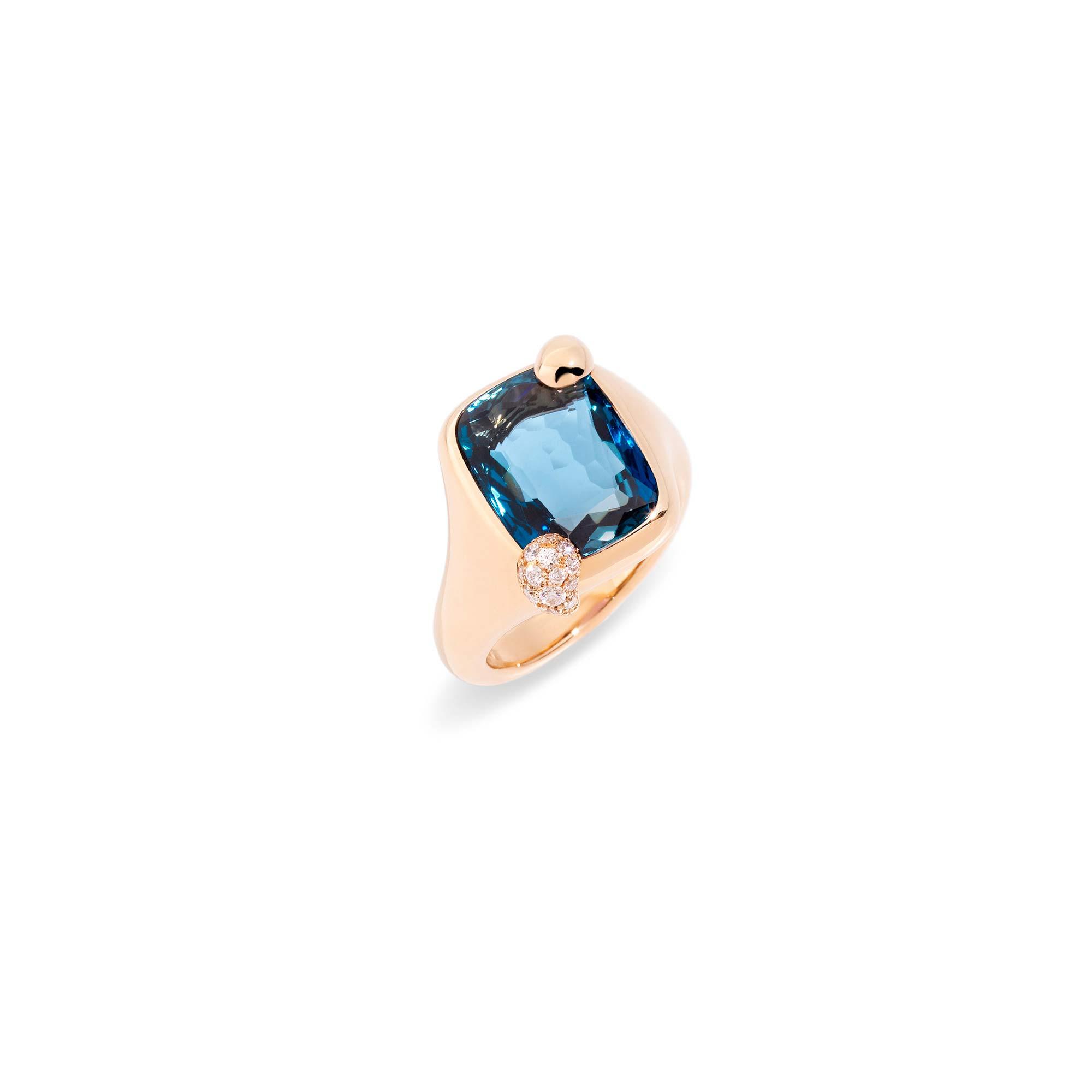 Pomellato Ritratto Ring aus Roségold mit blauem Topas und Diamanten