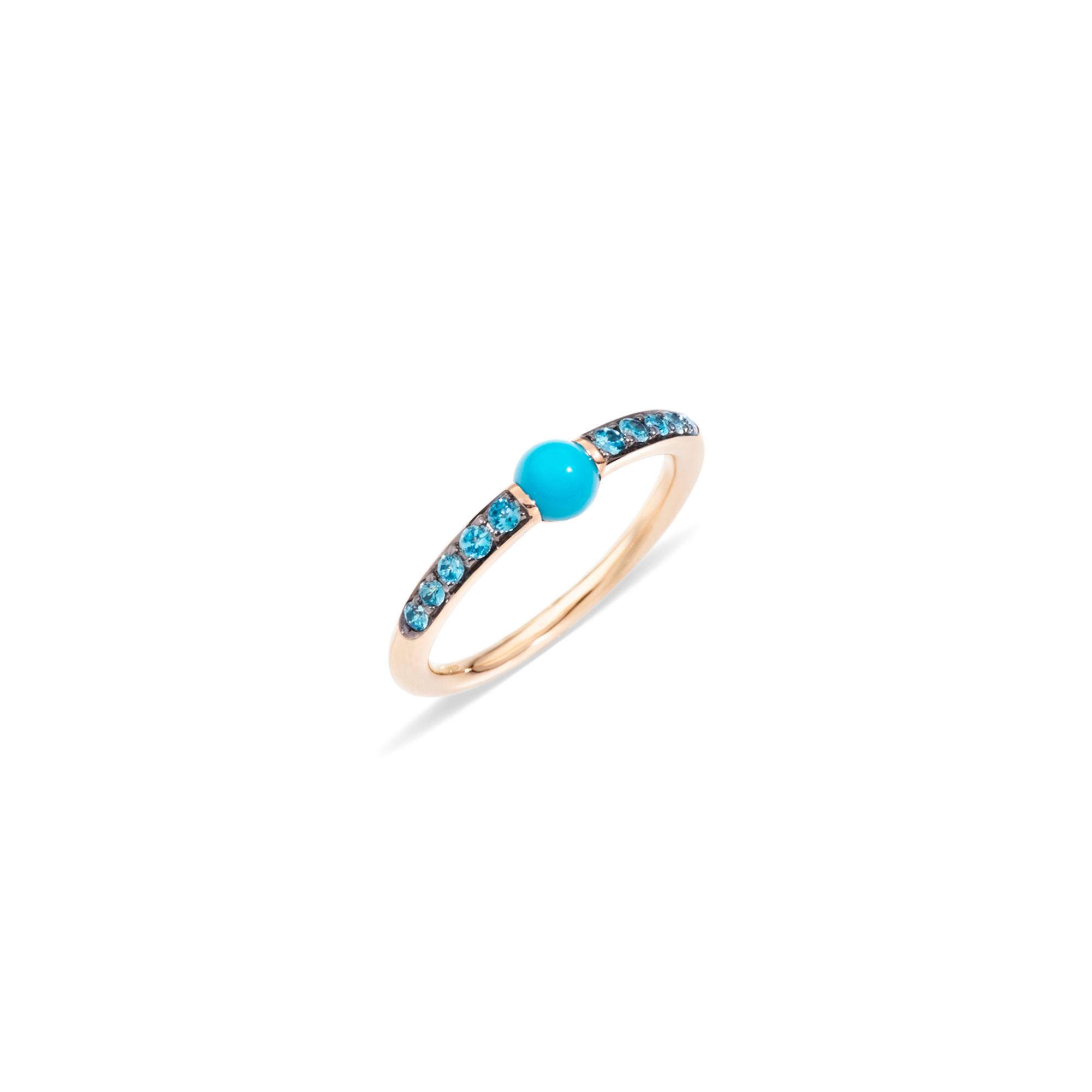 Pomellato M´ama non m´ama Ring aus Rosegold mit Türkis und Zirkon