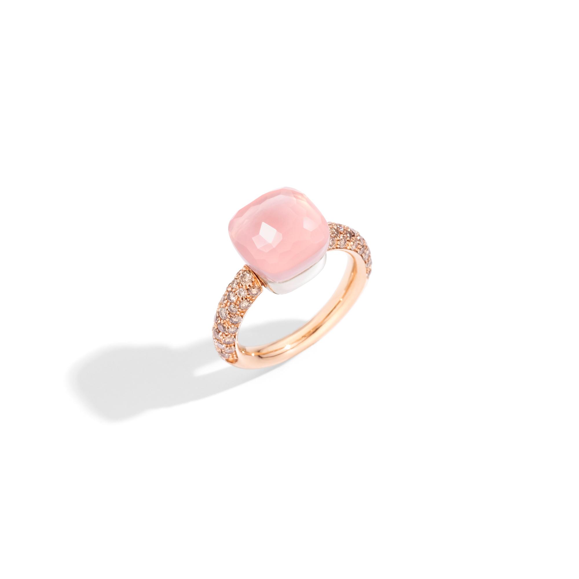 Pomellato Nudo Ring aus Rosé- und Weißgold mit Rosenquarz und Diamanten