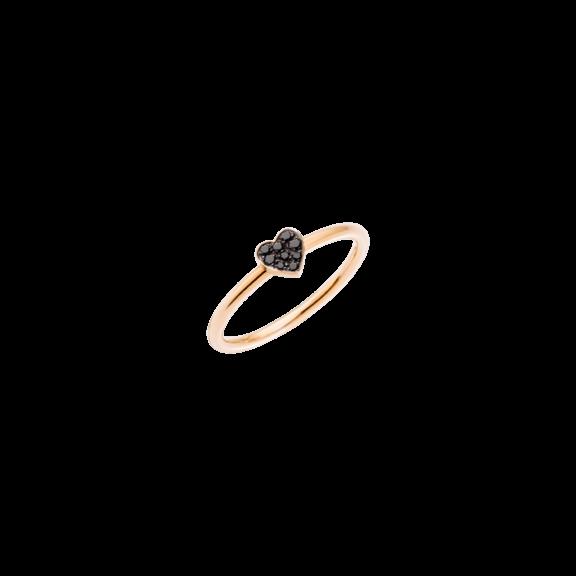 Dodo Ring Herz aus 9 Karat Roségold mit schwarzen Diamanten