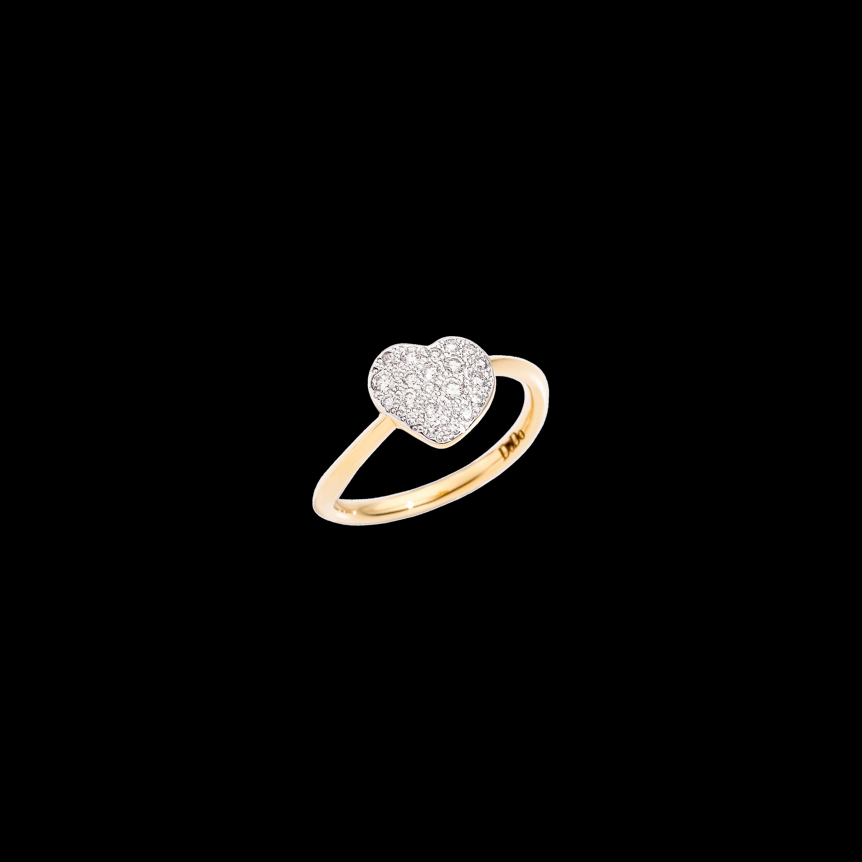 Dodo Ring Herz aus 18 Karat Gelbgold mit Diamanten
