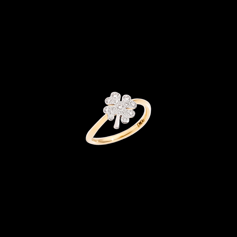 Dodo Ring Kleeblatt aus 18 Karat Gelbgold mit Diamanten