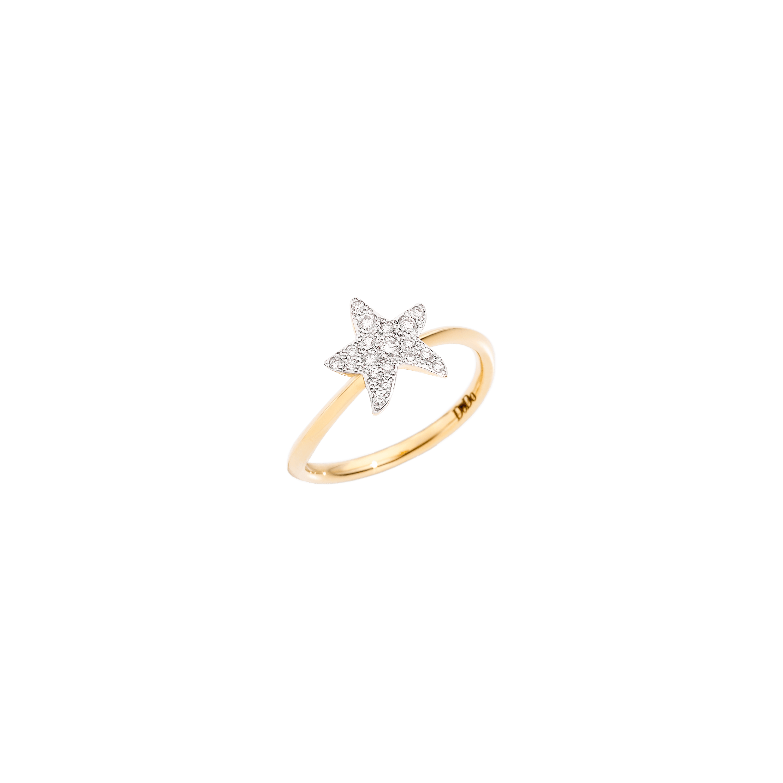 Dodo Ring Stern aus 18 Karat Gelbgold mit Diamanten