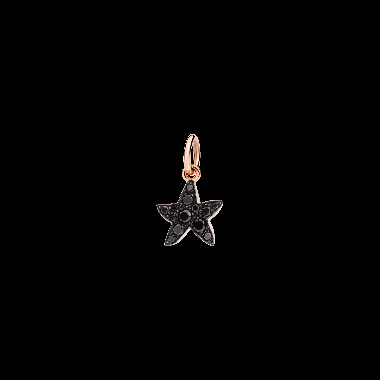 Dodo Anhänger Stern aus 9 Karat Roségold mit schwarzen Diamanten