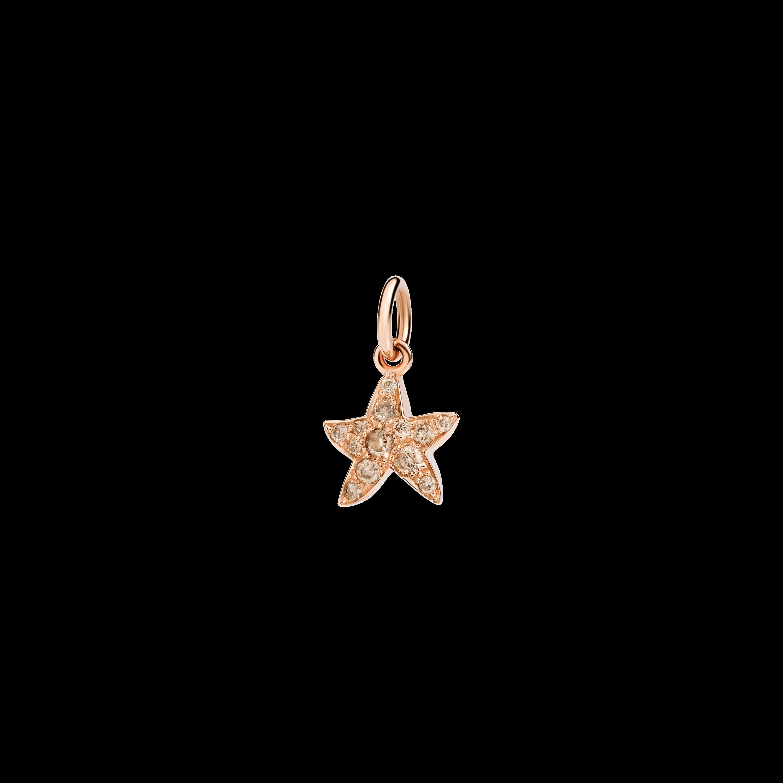 Dodo Anhänger Stern aus 9 Karat Roségold mit braunen Diamanten