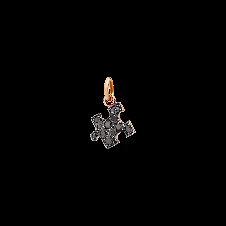 Dodo Anhänger Puzzle aus 9 Karat Roségold mit schwarzen Diamanten