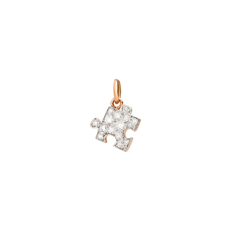 Dodo Anhänger Puzzle aus 9 Karat Roségold mit Diamanten