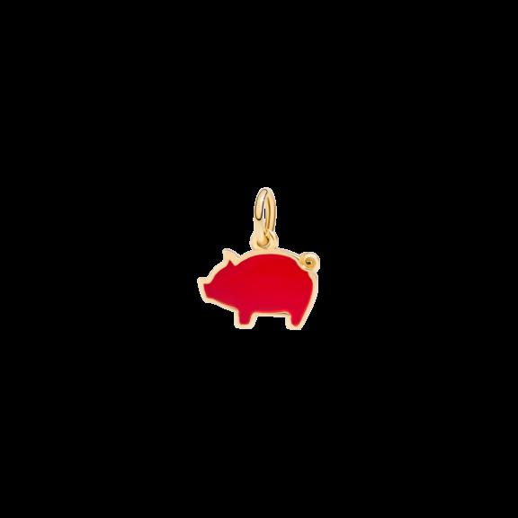 Dodo Anhänger Schweinchen aus Gelbgold mit Emaille