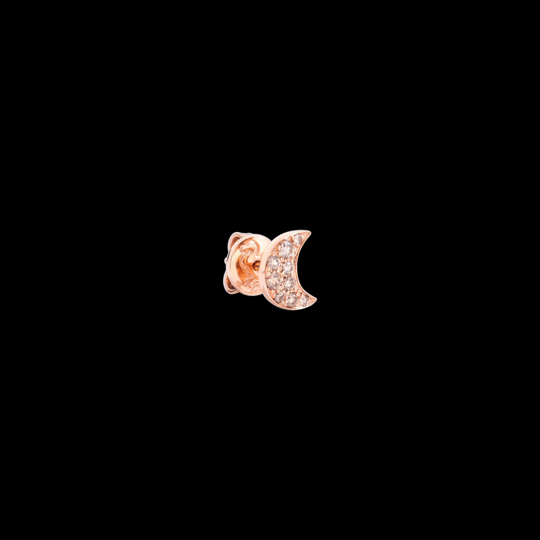 Dodo Ohrschmuck Mond aus 9 Karat Roségold mit braunen Diamanten