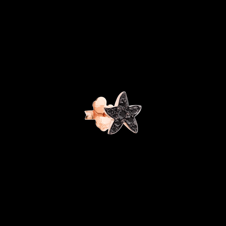 Dodo Ohrschmuck Stern aus 9 Karat Roségold mit schwarzen Diamanten