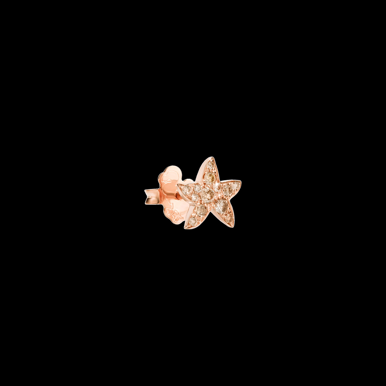 Dodo Ohrschmuck Stern aus 9 Karat Roségold mit braunen Diamanten