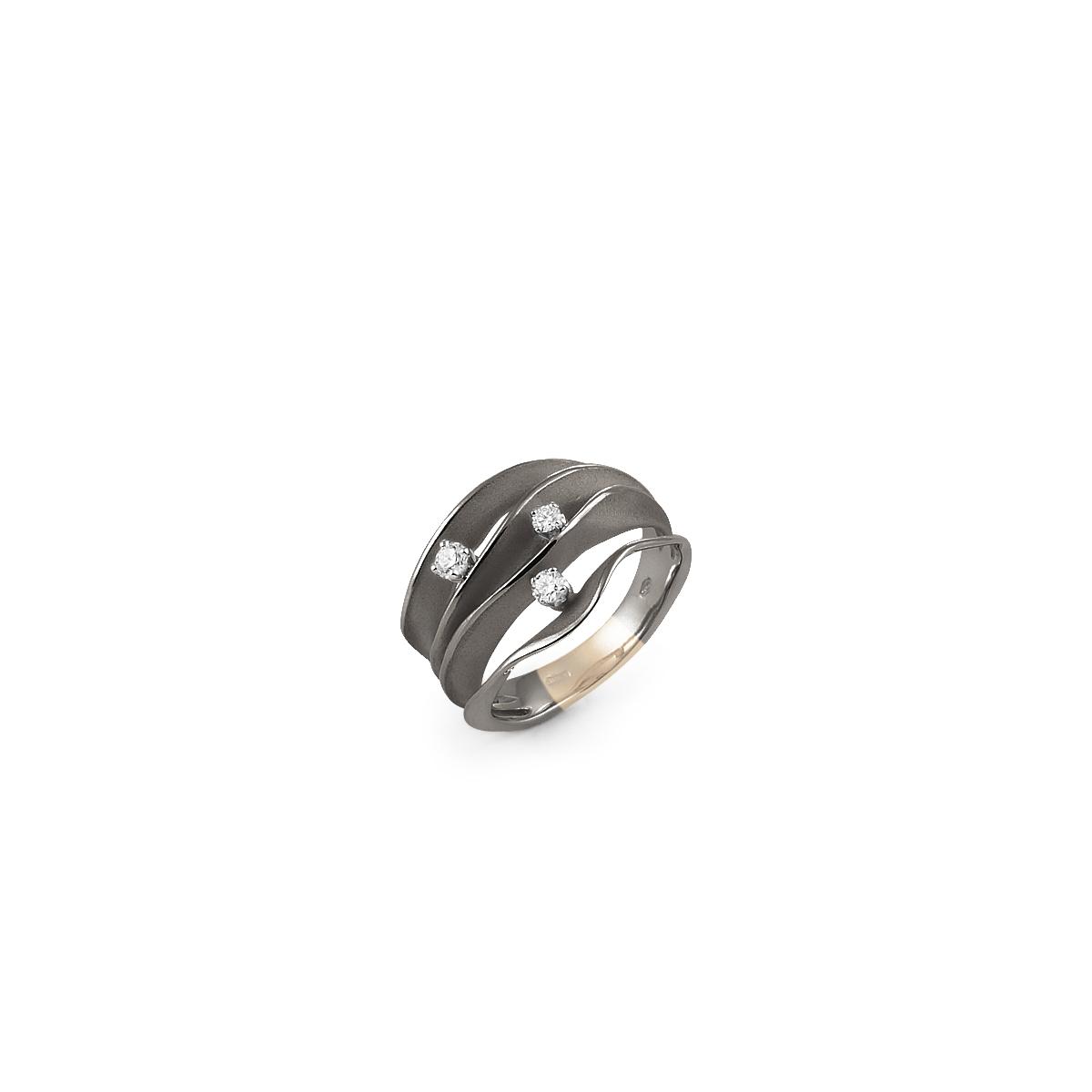 Annamaria Cammilli Dune Ring aus 18 Karat Black Lava Gold mit Brillanten