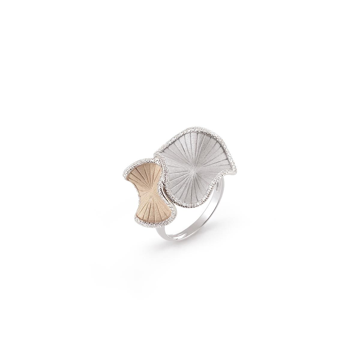 Annamaria Cammilli Sultana Ring aus 18 Karat Natural Beige und White Ice Gold mit Brillanten