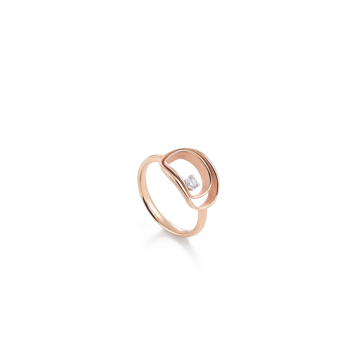 Annamaria Cammilli Dune Ring aus 18 Karat Pink Champagne Gold mit Brillanten