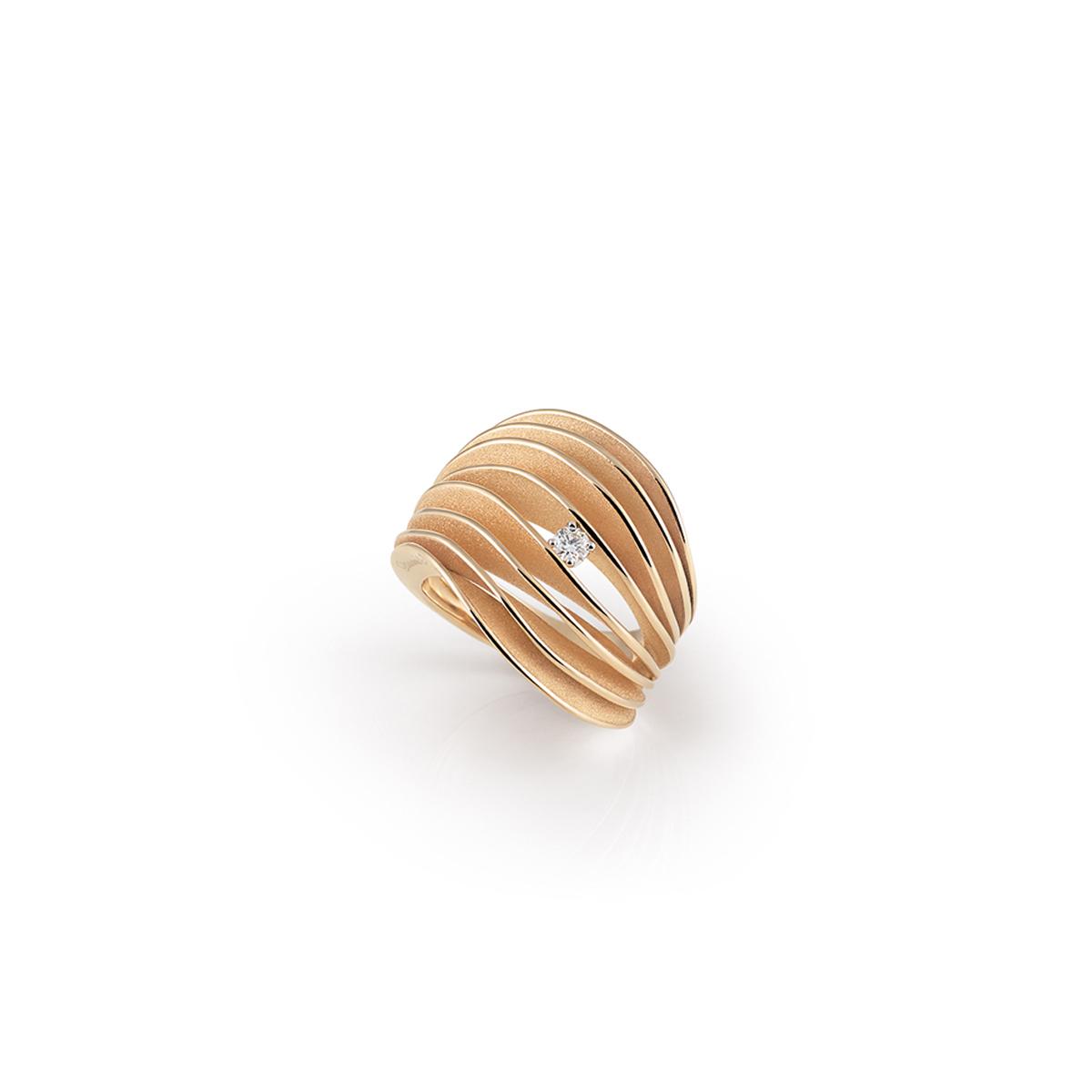 Annamaria Cammilli Dune Ring aus 18 Karat Orange Apricot Gold mit Brillant