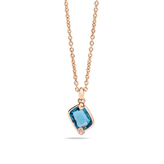 Pomellato Ritratto Anhänger aus Roségold mit blauem Topas und Diamanten