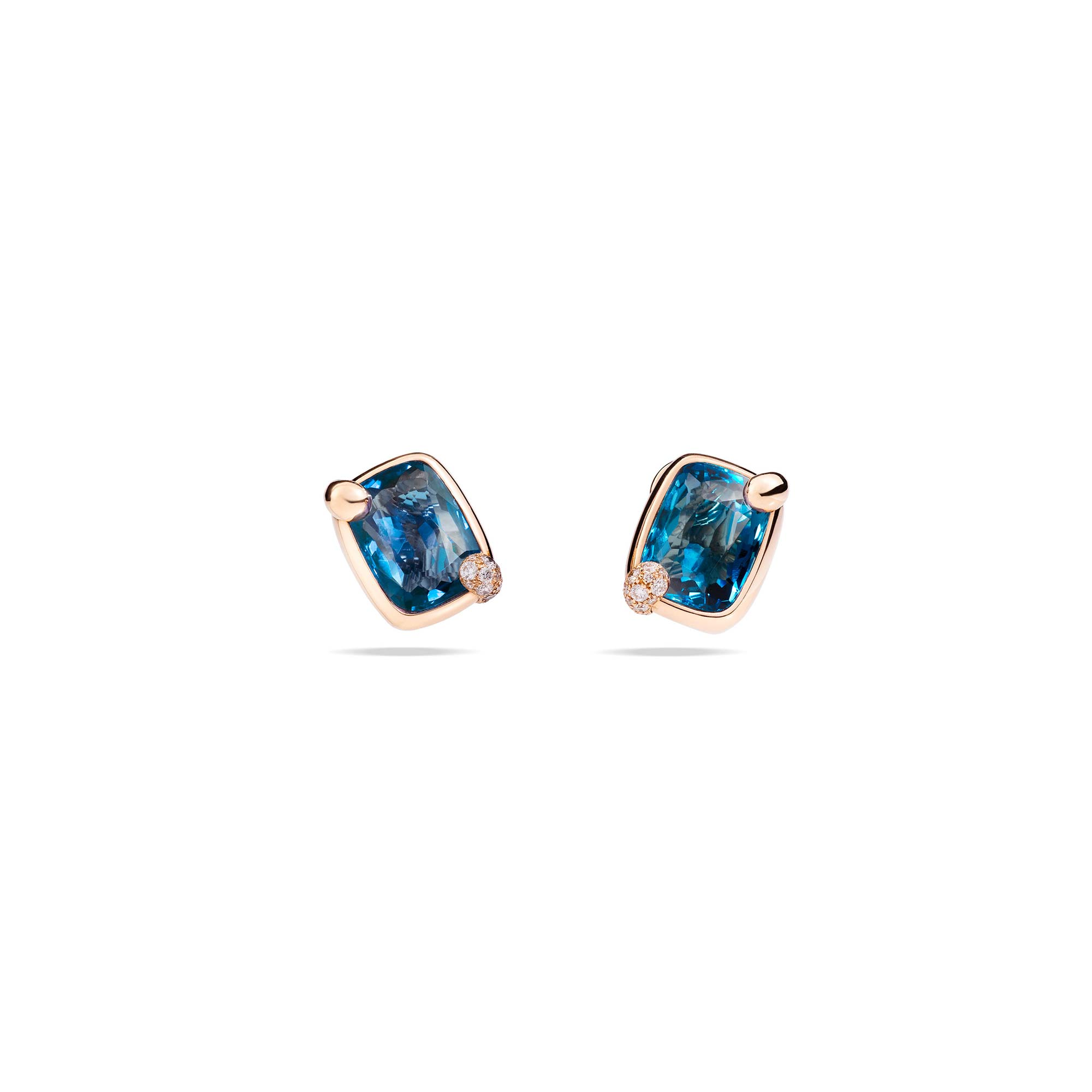 Pomellato Ritratto Ohrschmuck aus Roségold mit blauem Topas und Diamanten