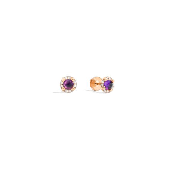 Pomellato M´ama non m´ama Ohrschmuck aus Rosegold mit Amethyst und Diamanten