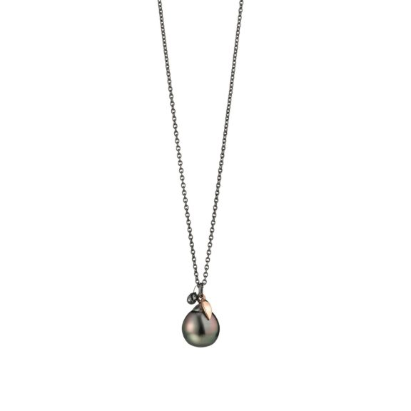 Collier aus Silber und Roségold mit Tahiti-Zuchtperle und Diamant-Briolette