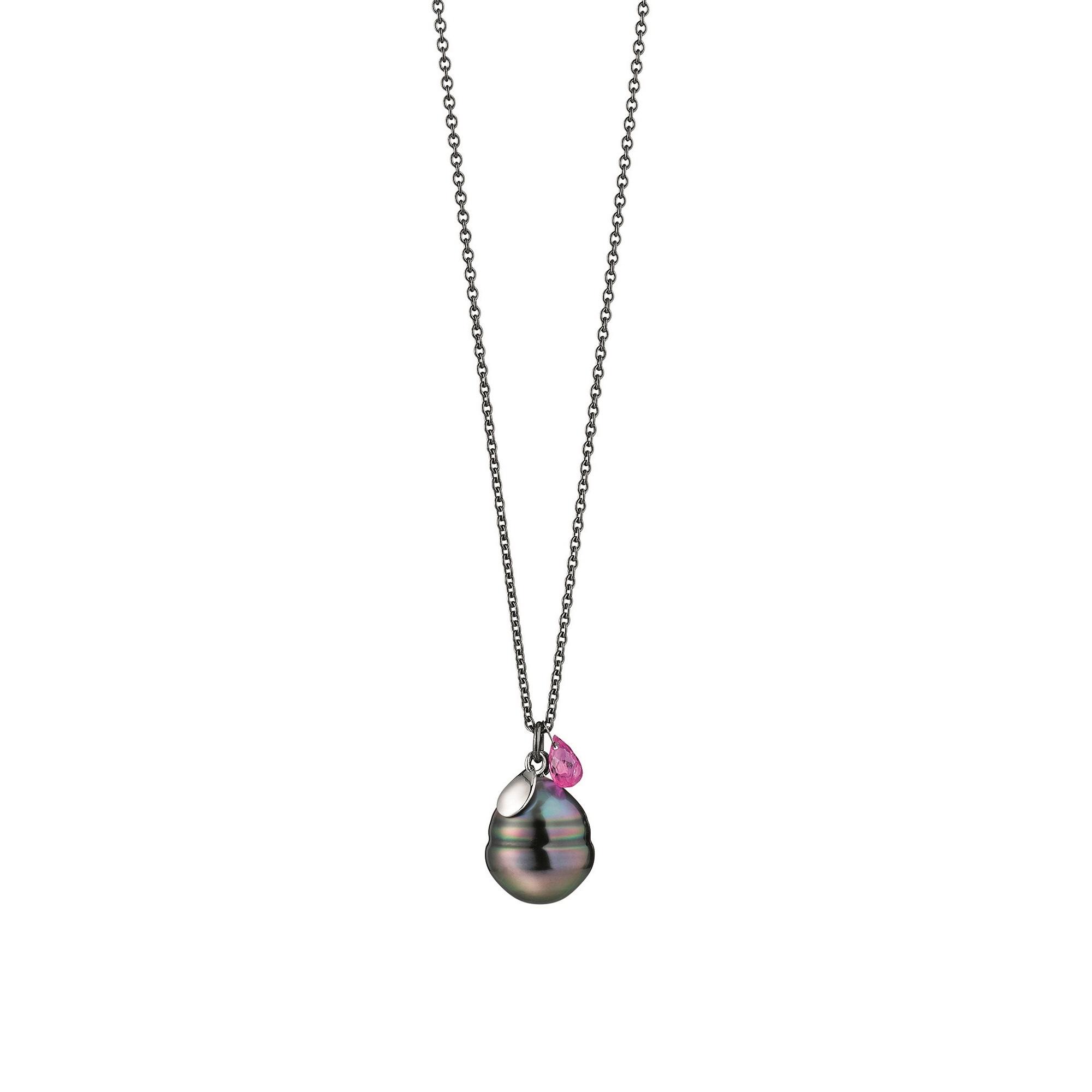 Collier aus Silber und Roségold mit Tahiti-Zuchtperle und Saphir