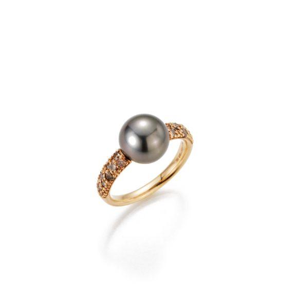 Ring aus Roségold mit Tahiti-Zuchtperle und Diamanten