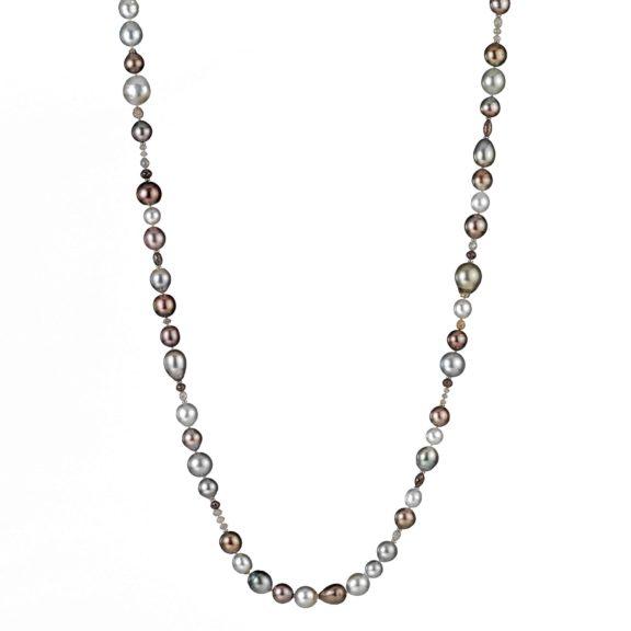 Collier aus Weiß- und Roségold mit Tahiti-Zuchtperlen und Diamanten