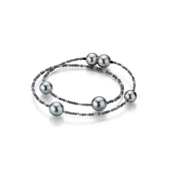 Armband aus Tahiti-Zuchtperlen und grauen und anthrazitfarbenen Diamanten
