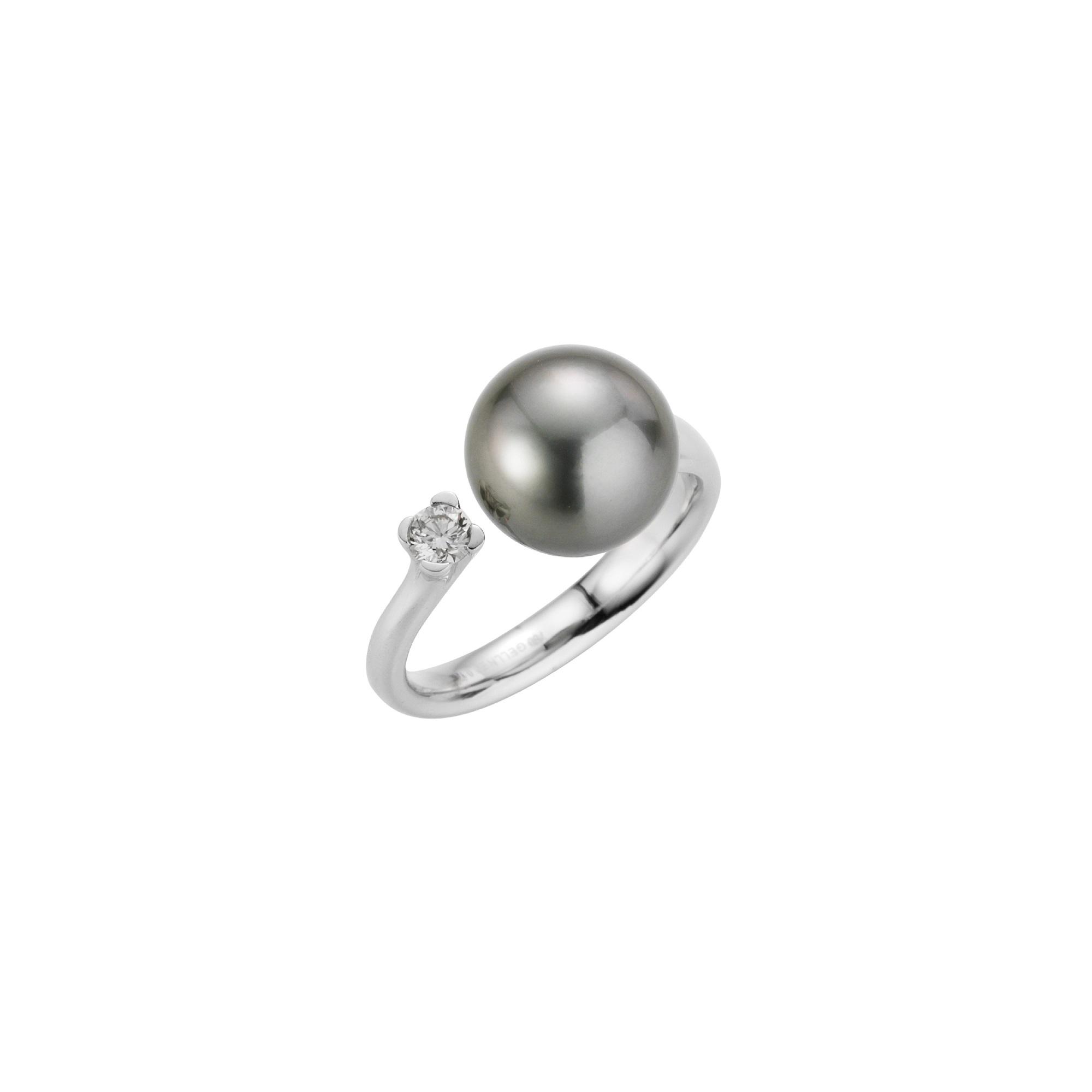 Ring aus Weißgold mit Tahiti-Zuchtperle und Diamant