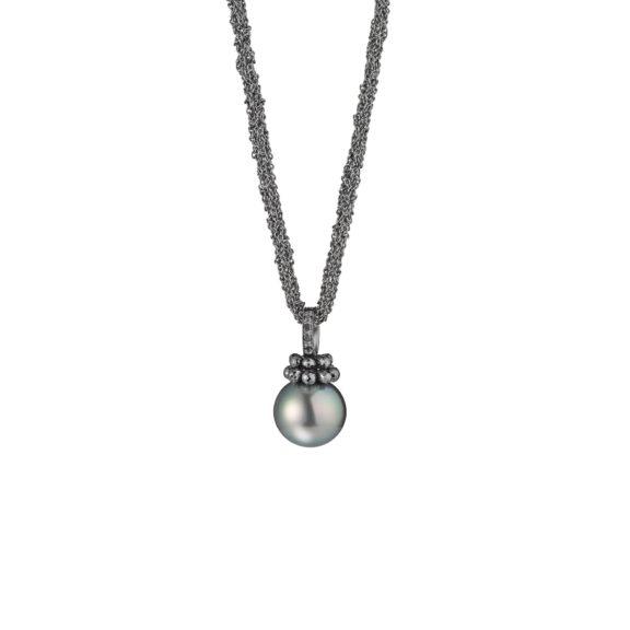 Collier aus Silber und Weißgold mit Tahiti-Zuchtperle und Diamanten