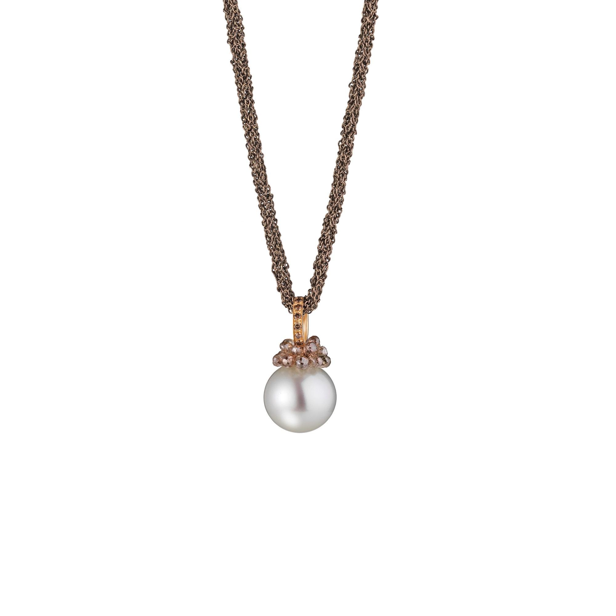 Collier aus Silber und Roségold mit Südsee-Zuchtperle und Diamanten
