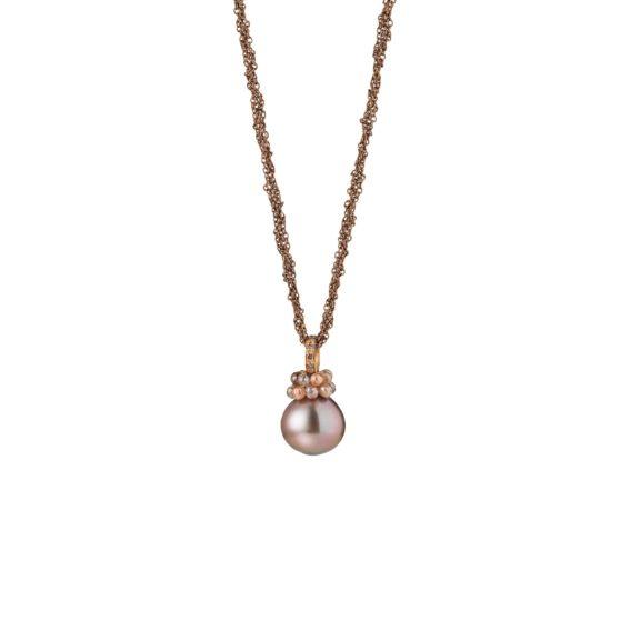 Collier aus Silber und Roségold mit Tahiti-Zuchtperle und Diamanten