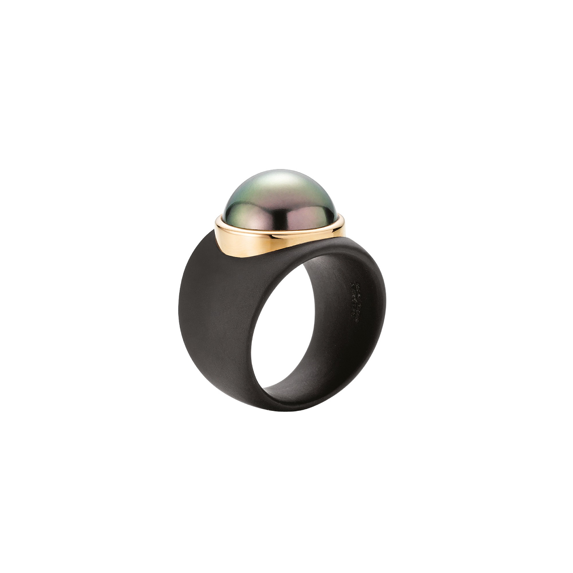 Ring aus Edelstahl und Roségold mit Tahiti-Zuchtperle