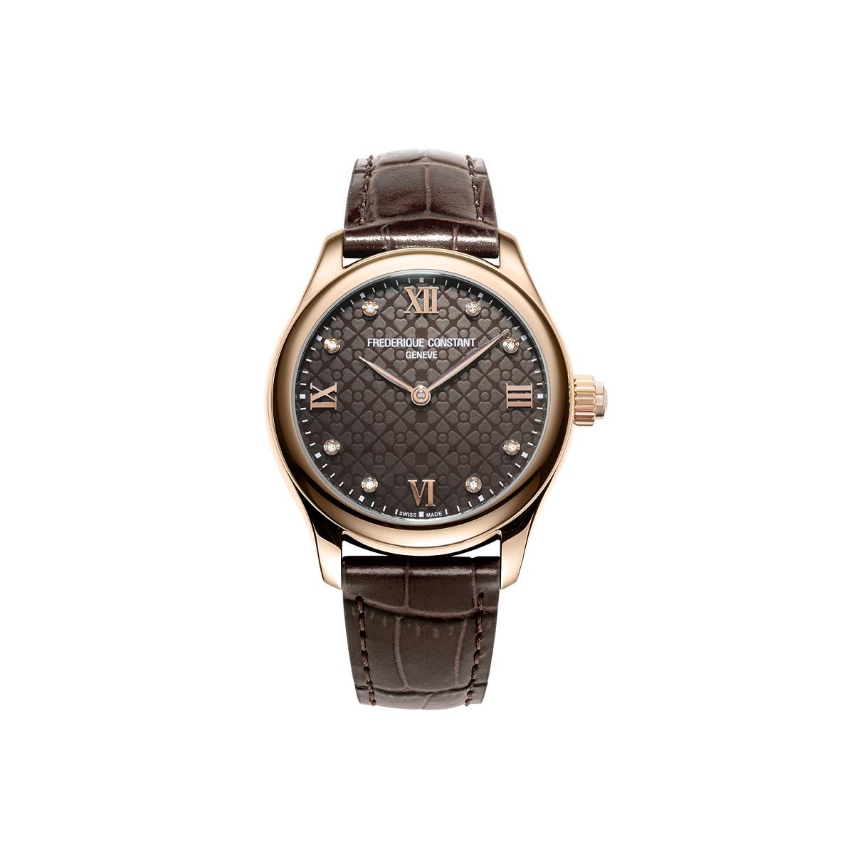 Frederique Constant Smartwatch Ladies Vitality mit vergoldetem Edelstahlgehäuse und braunem Zifferblatt