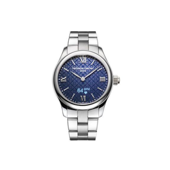 Frederique Constant Smartwatch Ladies Vitality mit Gehäuse und Band aus Edelstahl und blauem Zifferblatt