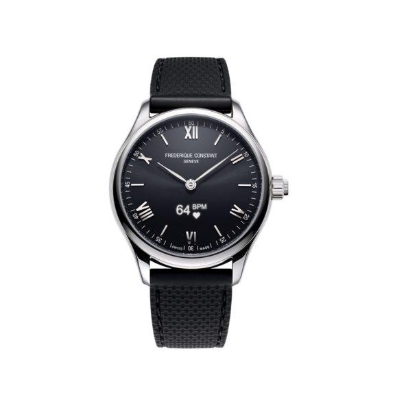 Frederique Constant Smartwatch Gents Vitality mit Edelstahlgehäuse und Kautschukband und schwarzem Zifferblatt