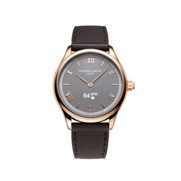 Frederique Constant Smartwatch Gents Vitality mit vergoldetem Edelstahlgehäuse und Kautschukband und grauem Zifferblatt