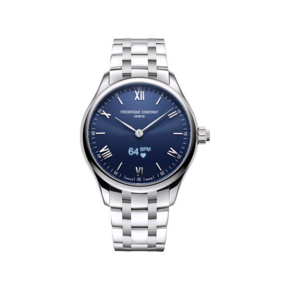 Frederique Constant Smartwatch Gents Vitality mit Gehäuse und Band aus Edelstahl und blauem Zifferblatt