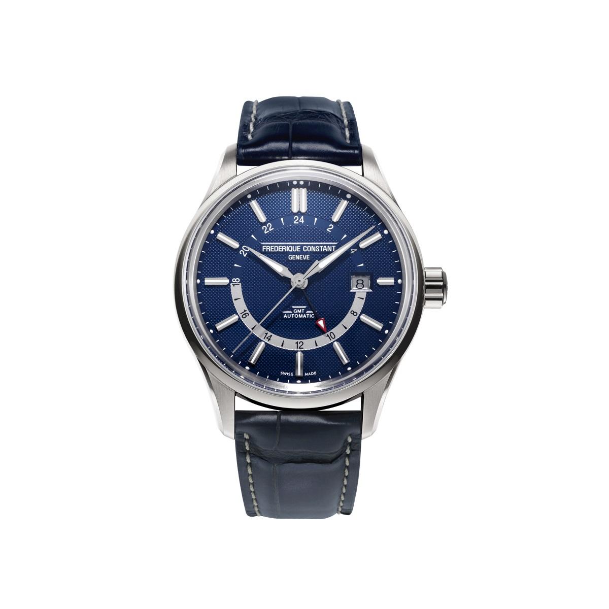 Frederique Constant Yacht Timer GMT mit Edelstahlgehäuse, Lederband und blauem Zifferblatt