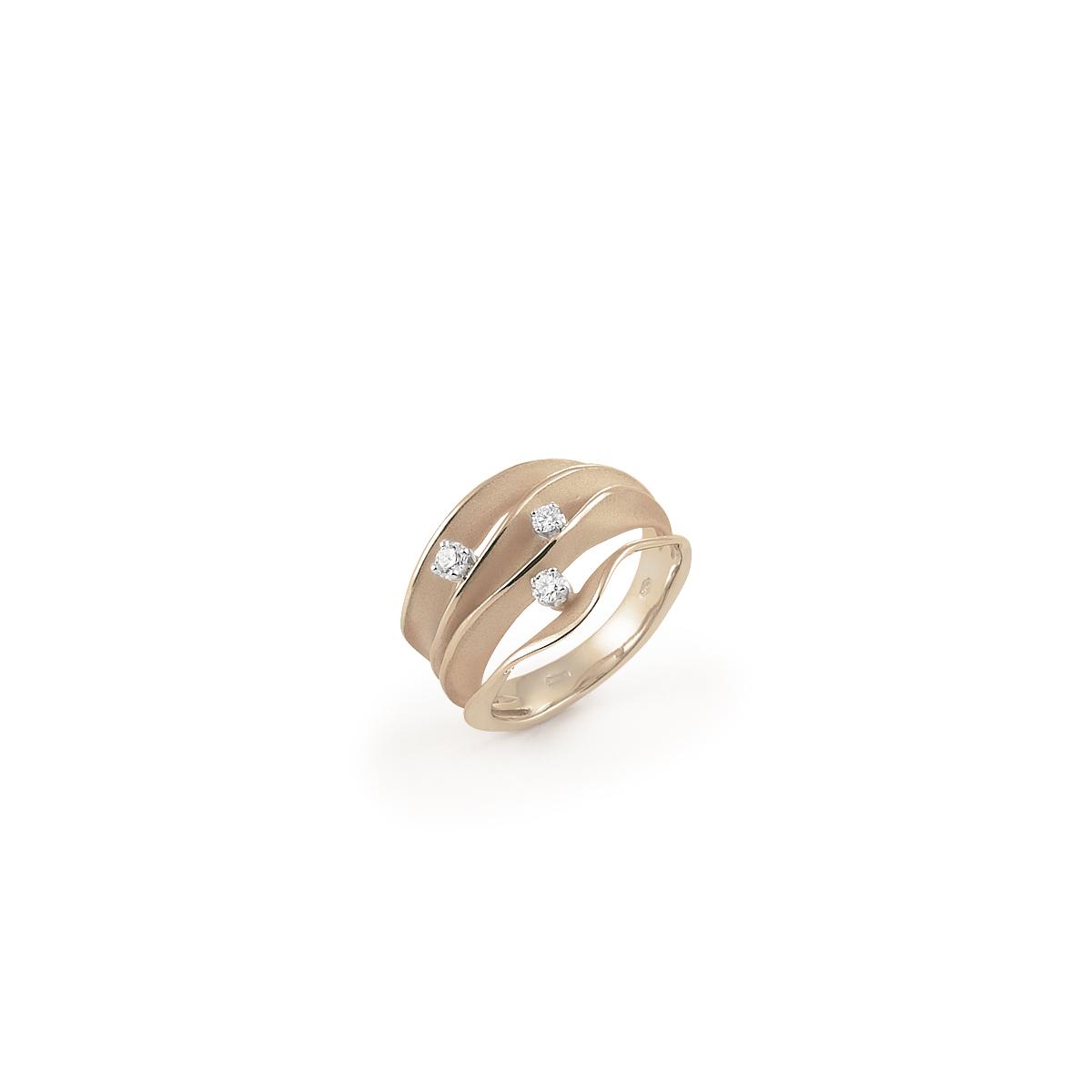 Annamaria Cammilli Dune Ring aus 18 Karat Natural Beige Gold mit Brillanten